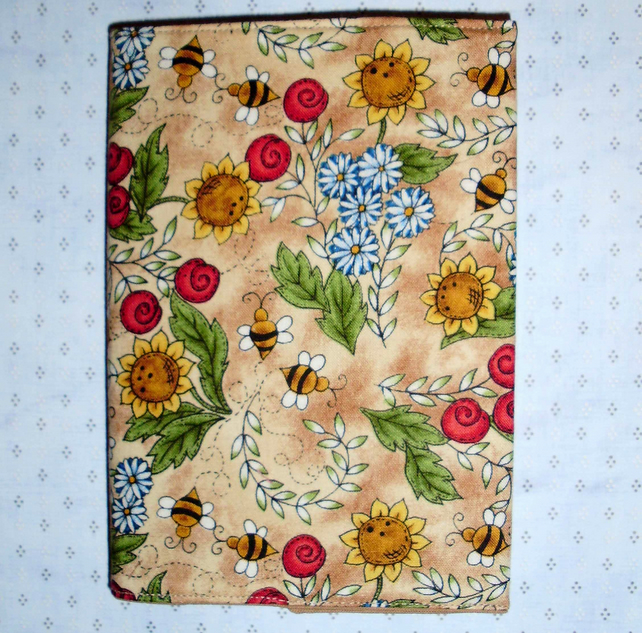 Diary 2014 fabric covered A6 Flowers and Bees
