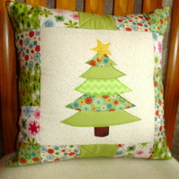 Cushion - Christmas tree and patchwork SALE PRICE