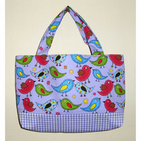 Bag for girl, lilac birds and gingham