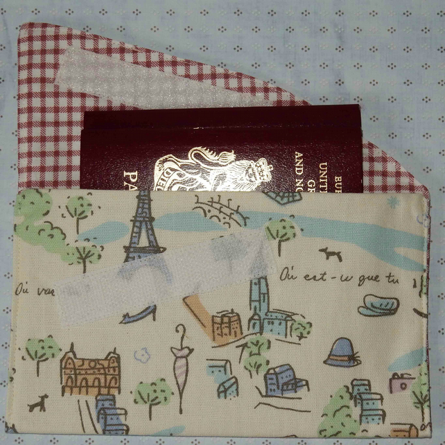 Travel wallet passport or document wallet French theme