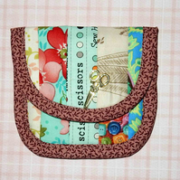Mini sewing wallet or tea bag wallet pretty patchwork