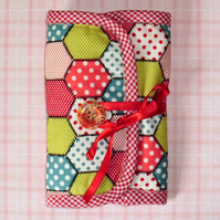 Sewing set needle case pretty hexagon patchwork