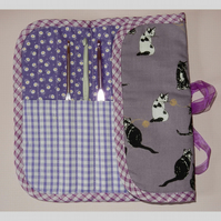 Crochet hook holder or roll black and white cats