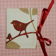 Needle case - birds, Liberty print red