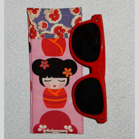 Glasses case - Japanese lady and pretty floral