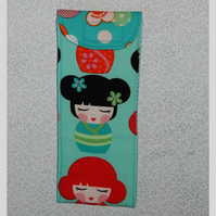 Glasses case - Japanese lady turquoise