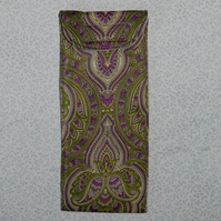 Glasses case - Traditional print green and lilac
