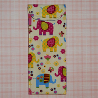 Glasses case - brightly coloured elephants