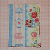 Tea bag wallet - pretty flowers and china