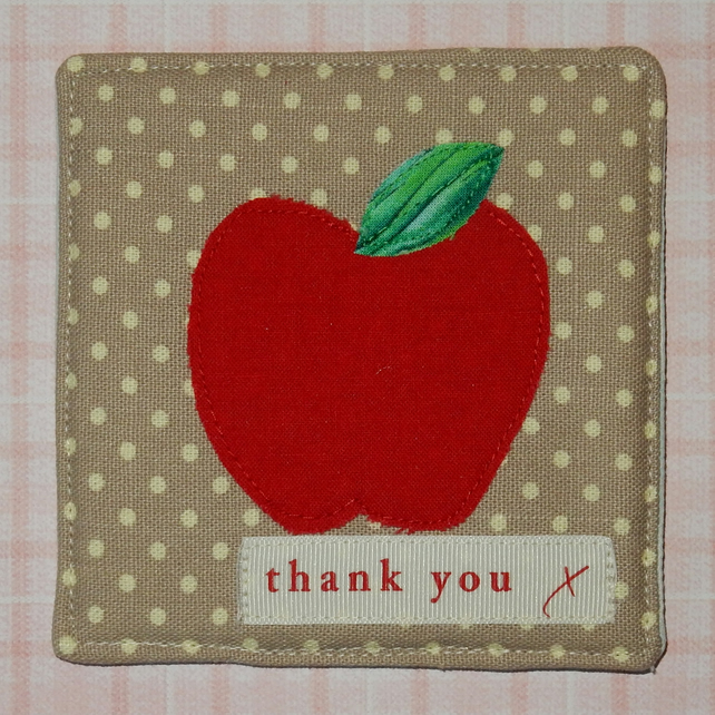 Coaster - Thank you teacher apple on spotty fabric