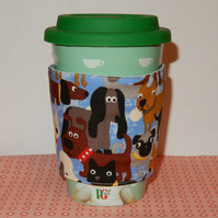 Travel mug cosy - Quirky dogs