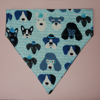 Dog bandana reversible blue