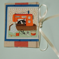 Needle case - cat and sewing machine