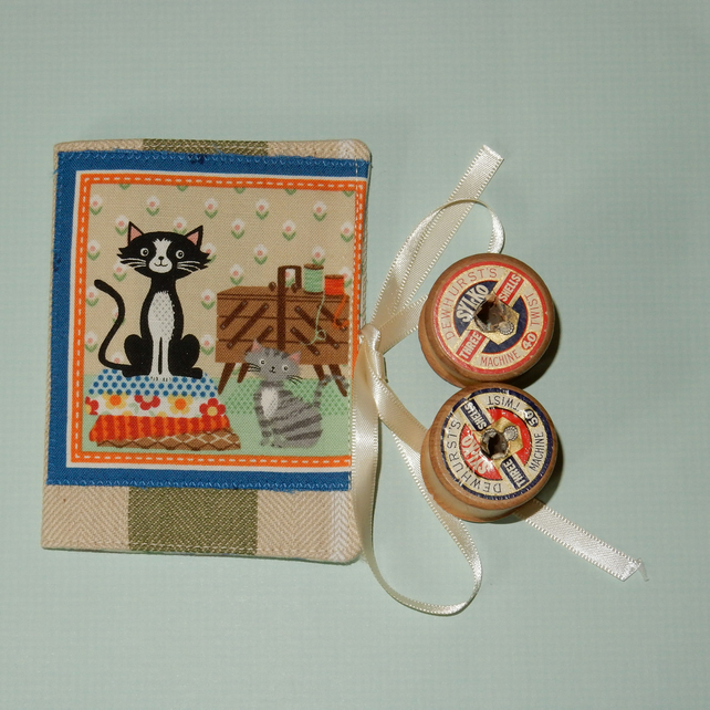 Needle case - cats and sewing basket