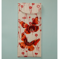 Glasses case - bright applique butterflies