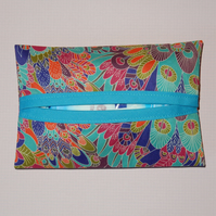 Tissue holder  Liberty print green peacock
