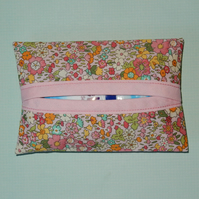 Tissue holder  Liberty print pale pink