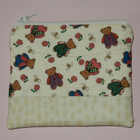 Coin purse Teddies and flowers