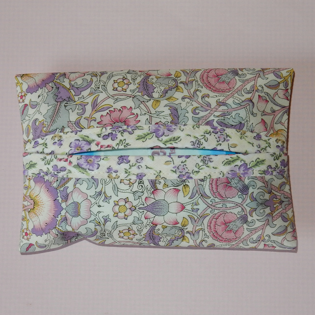 Pocket Tissue holder  Liberty print pale lilac