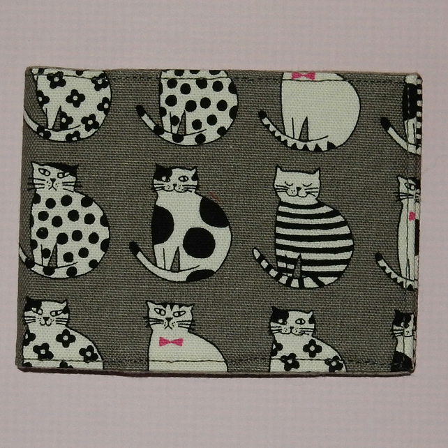 Travel card wallet Black and white cats grey