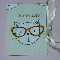 Needle case - cat with glasses