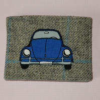 Travel card wallet tweed with car