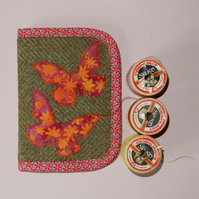 Needle case tweed with batik butterflies