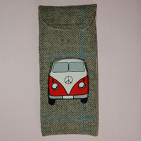 Glasses case tweed with red Campervan
