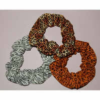Animal print scrunchies set of three