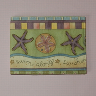 Card wallet starfish and seashells