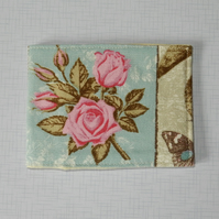 Travel card wallet pretty pink roses