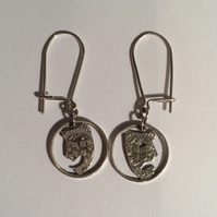 Comedy and Tragedy silver threepence earrings