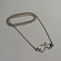 Silver belcher necklace with hand-made clasp