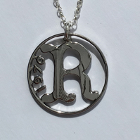 Irish Large 5 Pence Initial Pendant