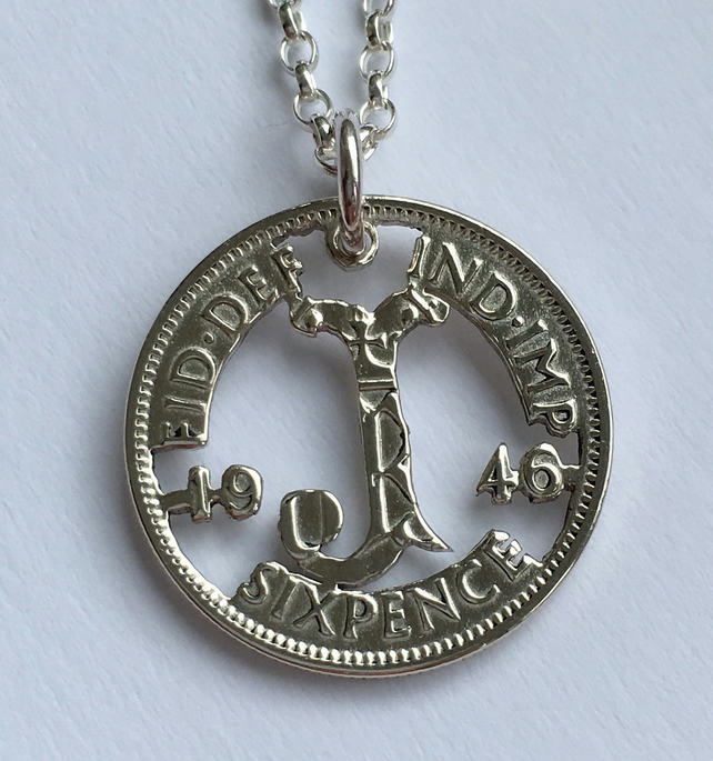 Silver Sixpence Initial Pendant