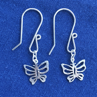 Silver threepence butterfly earrings