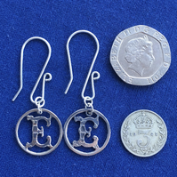 Silver threepence letter earrings