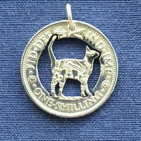 Cat shilling coin pendant