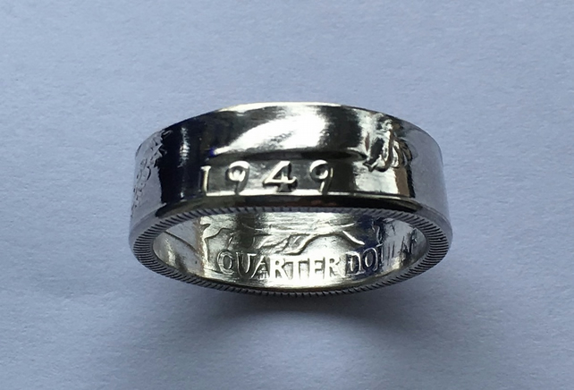 Silver Washington Quarter Coin Ring