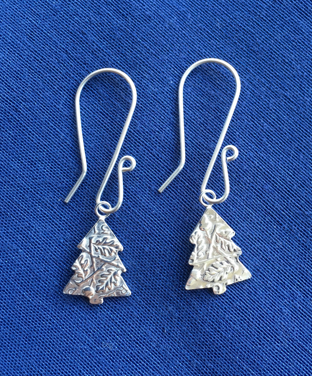 Silver Threepence Christmas Tree Earrings