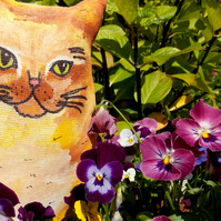 Vincent Hand Painted Fabric Art Cat.