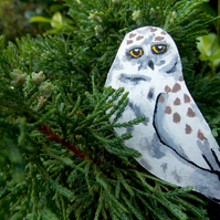 Snowy Owl Hand Painted Wooden Brooch.