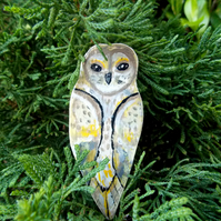 Barn Owl Hand Painted Wooden Brooch.