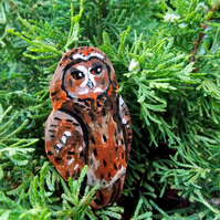 Tawny Owl Hand Painted Wooden Brooch.