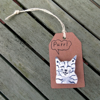 Smiling Cat Hand Painted Wooden Brooch.