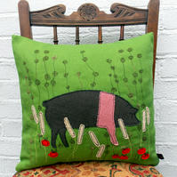 Saddleback Applique Pig Cushion.