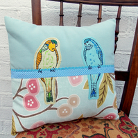 Budgerigars - Vibrant Applique Blue and Green Budgie Cushion.