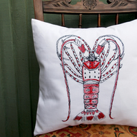 Lobster Seaside Themed Machine Embroidered Cushion.