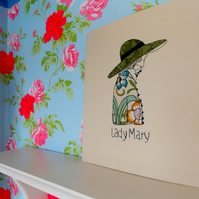 Lady Mary - Applique and Free Motion Embroidered Wall Art.