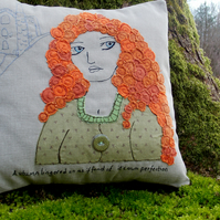 The Cornish Maiden - Applique and Embroidered Cushion (Mixed Media)